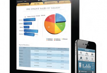 iPad with sales charts