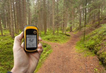 Person holding GPS receiver on a forest trail
