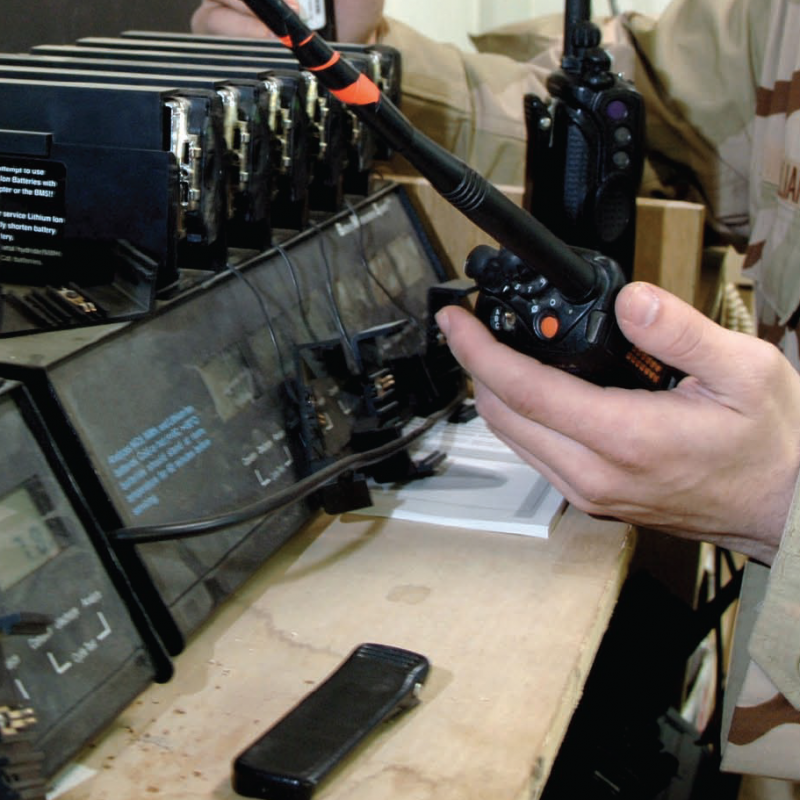 Military personnel using handheld radios
