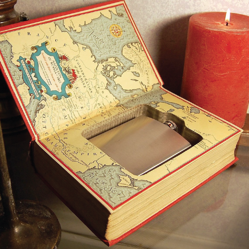 Hollowed-out book with flask